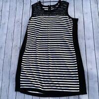 Lane Bryant 26 28 maxi dress black white stripe plus size stretch knit