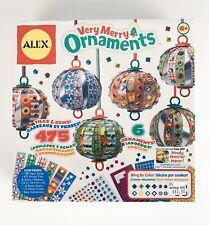 Alex Very Merry Christmas Ornaments Craft Kit~Makes 6~ 475 Tiles,Gems~Age 6+~NIB
