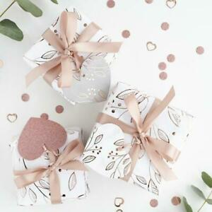 Gift Wrapping Kit - Rose Gold & White Gift Wrap Set With Ribbon & 3 Tags