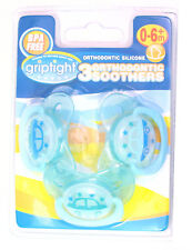 Griptight -  3 Decorated Orthodontic Soothers Dummies Pacifiers - Blue - 0M+