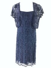 PHASE EIGHT NAVY BLUE BEADED DRESS BOLERO SET MOTHER OF THE BRIDE DRESS 14 11431