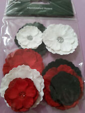 Handcrafted 9pcs paper flowers craft choice of colours card making Scrapbooking