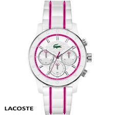 Lacoste . 2000843 . Charlotte . weiss pink . Chronograph Armband Uhr Damen . NEU