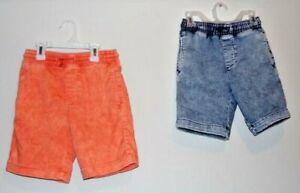 Lot of 2 Wonder Nation Boys Size M (8) Blue & Orange Acid Wash Shorts