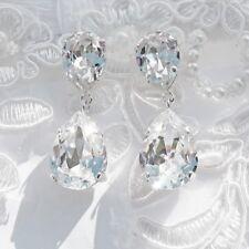 Pendientes en forma de lágrima con elementos Swarovski ™ cristalizada Claro Cristal Nupcial