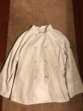Chef Designs Heavy Duty Chef Cook Shirt Size Large White Button Up, Pockets