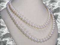 Lange Zuchtperlenkette Perlen 7,5 - 8,5 mm weiß creme Endloskette / 125 cm