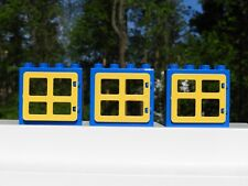Lego DUPLO Lot of 3 Blue & Yellow Windows - USED