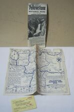 Vintage Yellowstone National Park Pamphlet Texaco Oil Map & Parking Pass   T*