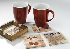 Glasuntersetzer Set 5-tlg. Keramik/Holz Untersetzer Design Edel