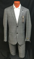 Mens Grey Caravelli Suit with Flat Front Pants Business Interview Church 50R 46W