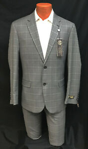 Mens Grey Caravelli Suit with Flat Front Pants Business Interview Church 38R 32W