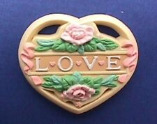 Enesco Pin Valentines Vintage Heart Love Water Lilies Morgan Holiday Brooch
