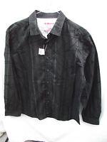 BNWT Mens Sz Large Rivers Brand Black/Print Long Sleeve Slim Fit Shirt RRP $40