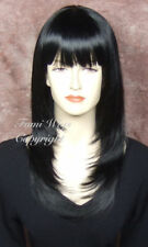 Silky Long Layered Straight Wig in Black / 100% Japanese Fibre Brilliant Quality