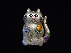 """JJ"" Jonette Jewelry Silver Pewter 'Bright Floral CAT' Pin"