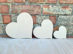 Heart Craft Blank Shape Plaque Decoration Wooden MDF 100mm - 4 Thickness Options