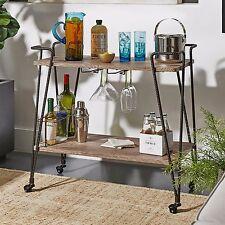 Vintage Industrial Serving Cart Wood & Metal Rolling Trolley Bar Storage Rack