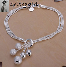 5 Line Bead Ball Matt Bracelet Bangle 925 Sterling Silver Rope Adjustable UK