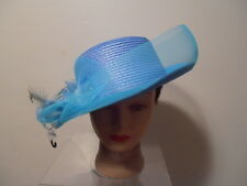 Hat -TURQUOISE Rolled Brim Kentucky Derby Wedding Church Bucket VEIL Flower