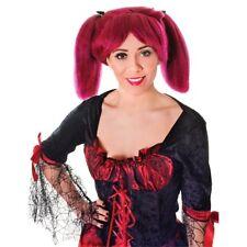 Burgundy Ladies Steampunk Wig - Fancy Dress Accessory Adult Streak Bunches