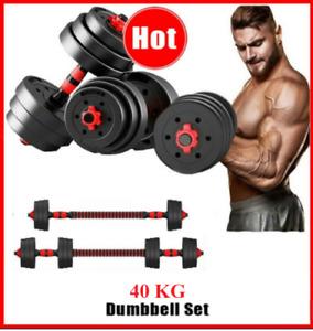 40kg Adjustable Rubber Dumbbell Set Weights Dumbbells Barbell Home Gym Equipment