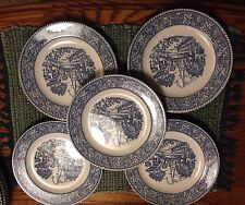 "5 Homer Laughlin ""Shakespeare Country Stratwood"" Blue Leaves Rim Pie Plates"