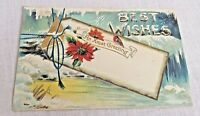 Xmas Greeting Postcard Made in Germany Christmas Best Wishes Vintage Unposted