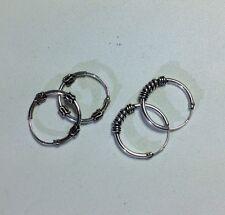 US Seller 2 pairs 925 Sterling Silver 14mm Bali Hoop Round Earrings