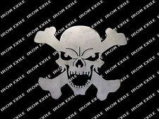Skull 05 & Cross Bones Jolly Roger Motorcycle Hot Rat Rod Sign Emblem Wall Art
