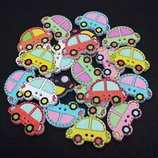 40 WOODEN CAR BUTTONS - MIXED COLOURS - BOY - CRAFT - SCRAPBOOK - SEW - CARDS