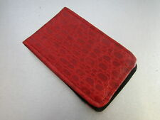 Sunfish Golf Leather Scorecard & Yardage Book Holder Red Gator Skin