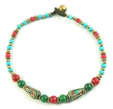 Tibetan Ankle Bracelet Multicolor Stones Glass Red Green Blue Brass Beads Chime