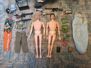 2x Vintage Action Man 1964 Fuzzy Hair + Accessories Guns Sleeping Bag Helicopter