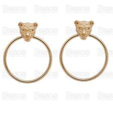 DOOR KNOCKER leopard HOOP EARRINGS panther lion head 40mm HOOPS gold fashion UK