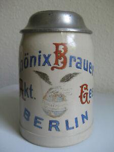 alter Bierkrug Phönix Brauerei Berlin Karl Gregory Wedding Moabit um 1900 antik