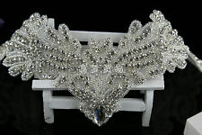 Bridal Rhinestone Applique,Wedding applique Crystal patch,headband (12''×4.8'')
