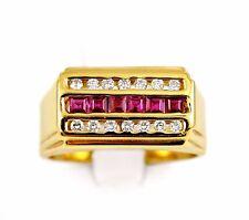 Mens 14k Yellow Gold .75ct Princess Cut Red Ruby .50ct Round Cut Diamond Ring