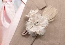 Burlap Boutonniere Rustic Coutnry Charm Flower Best Man Groom Wedding Groomsman