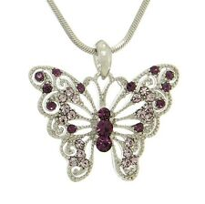 """Butterfly W Swarovski Crystal Purple Wings Gift Pendant Necklace 18"""" Chain NEW"""
