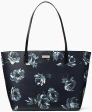 Kate Spade Margareta Navy Blue Floral Saffiano Extra Large Tote Handbag PVC NWT