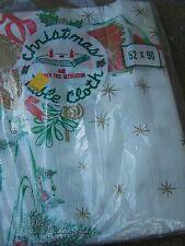 Vintage Christmas Tablecloth Sleigh Barn Poinsettia Vinyl 52 X 90