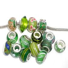Pack of 10 Green MIX Lampwork Murano Glass Beads For Snake Chain Charm Bracelet.
