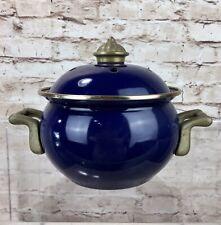 New listingVintage Enamel & Brass Garlic Store Pan Cooking Pot Kitchenalia Lidded Incense