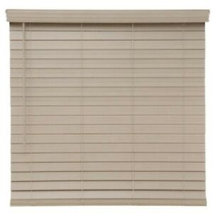 Driftwood Gray Cordless 2.5 in. Premium Faux Wood Blind Window 47 in W x 48 in L