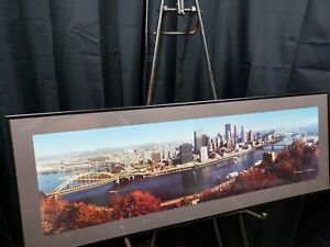 Vintage Pittsburg Panorama Photograph Framed Norman W Schumm Signed 35.75x12.75