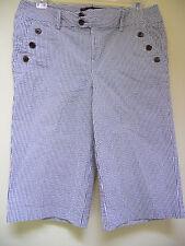 Jennifer & Grace Stretch Striped Grey/White Cotton Capri Bermuda Shorts 6 Mint !