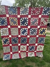 Vintage Hand Pieced Early Calicos Spool Pattern Quilt Top Set In Red Lattice