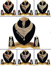Indische traditionelle Goldtone 3 PC Halsketten-gesetzte Hochzeits-Schmucksachen