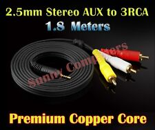 2.5mm Stereo AUX to 3 RCA 3RCA AV Audio Video Cable HDTV HD Camcorder Cord 1.8M